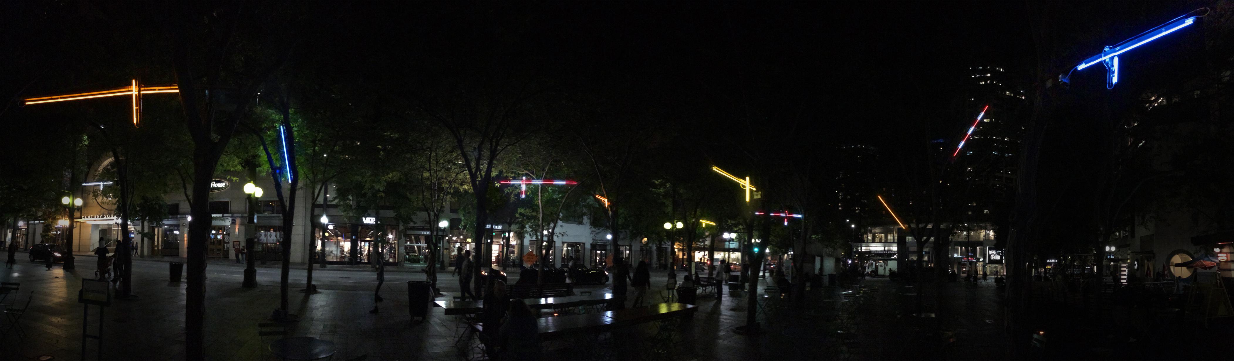 Neon cranes in Westlake Park
