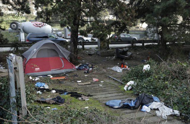Tent and debris