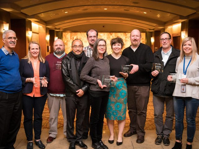 A group of award winners from Commute Seattle's CTR Champion Celebration in 2017