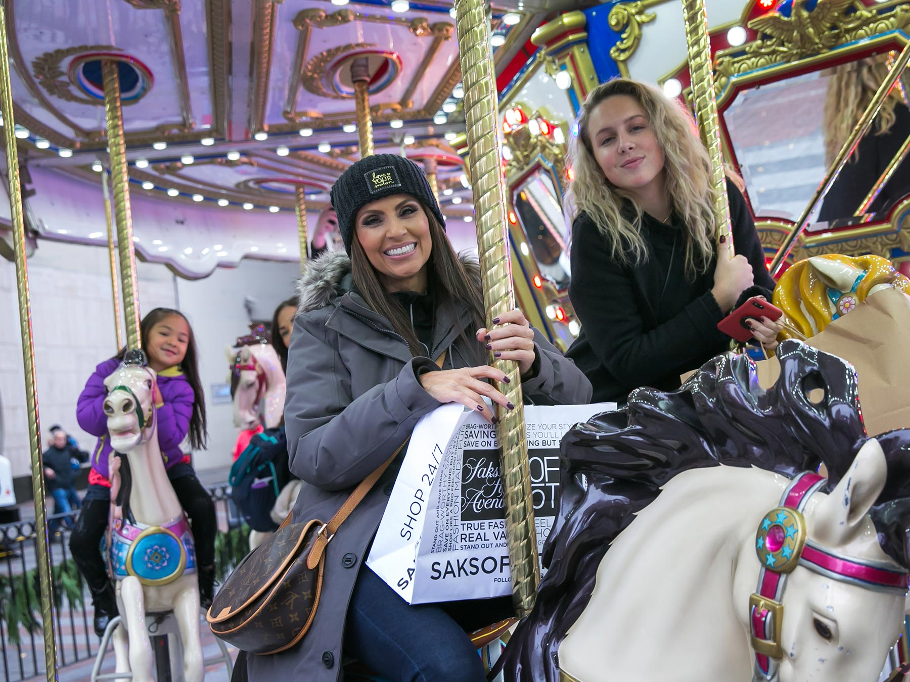 Carousel riders in downtown Seattle