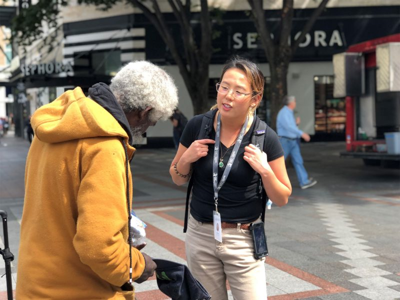 MID Outreach Ambassador in downtown Seattle