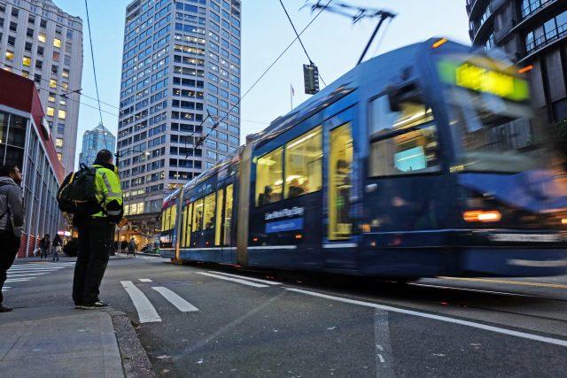 SLU streetcar line at dusk