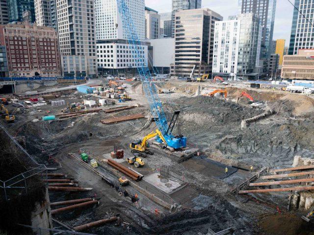 Construction Pit with Blue Crane