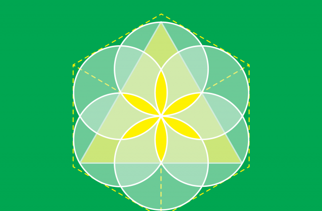 Yellow and white triangle, square and circles on green background