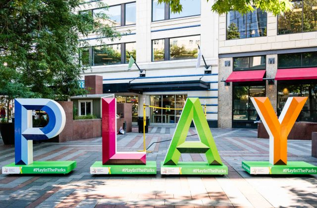 PLAY letters in Westlake Park
