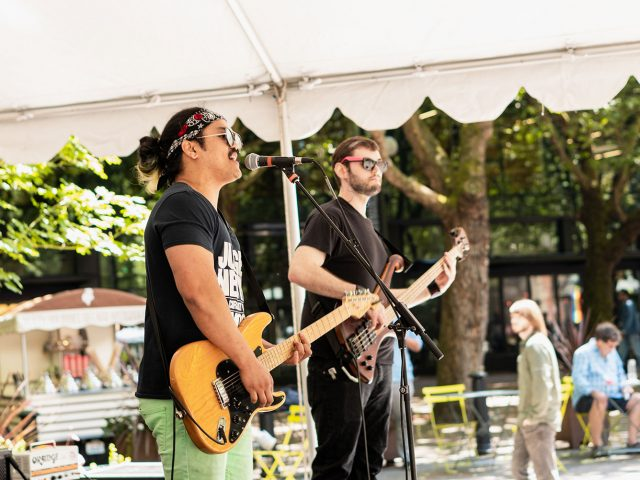 Happy Heartbreak performing at Downtown Summer Sounds in Occidental Square
