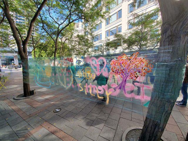 Saran Wrap art in Westlake Park, downtown Seattle