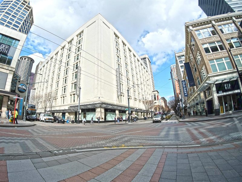 Retail core in downtown Seattle - sparse streets due to Coronavirus