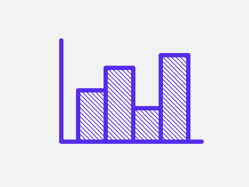 Purple bar chart icon on light grey background